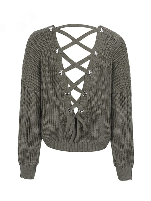 Lace Up Back Loose V-neck Knit Sweater – WhatsMode 0baa01d07
