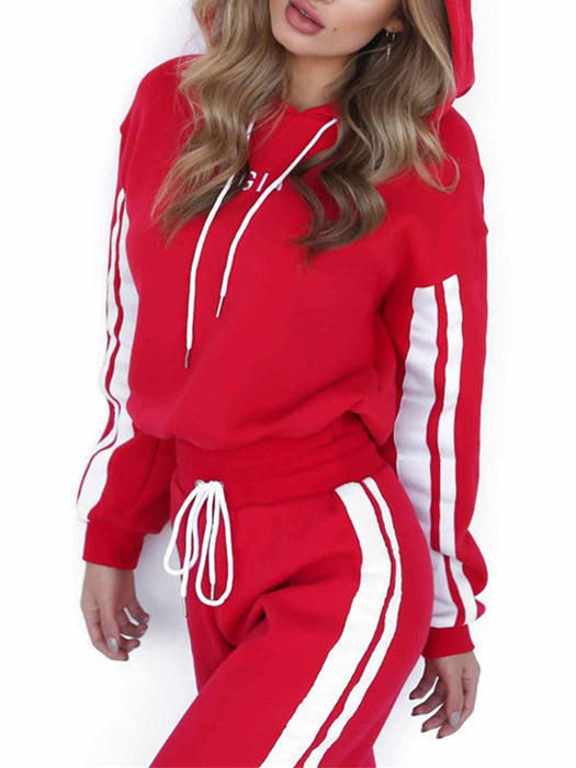Fashion 2 Piece Set Casual White Red Sportswear