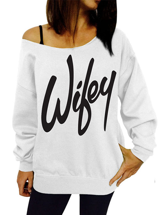 Women Long Sleeve Letter Printed Sweatshirt Casual Pullover