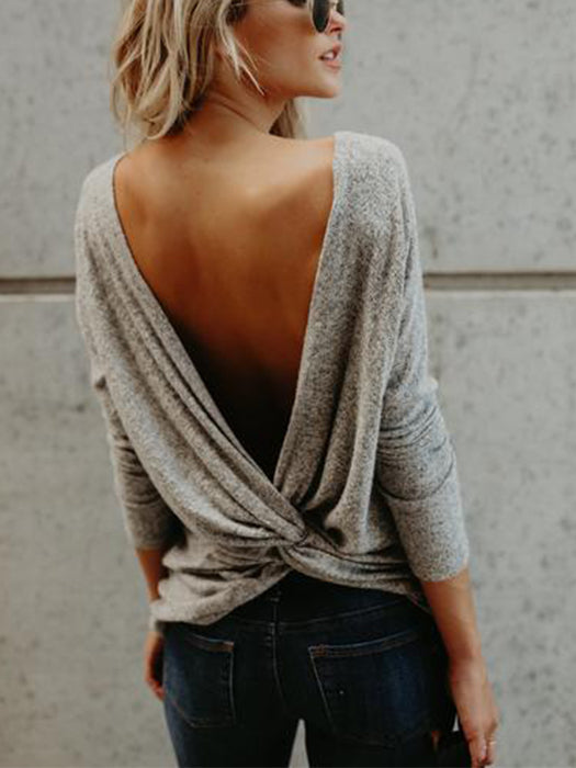 V Open Back Backless Blouse Tops Long Sleeve Loose Casual Shirt