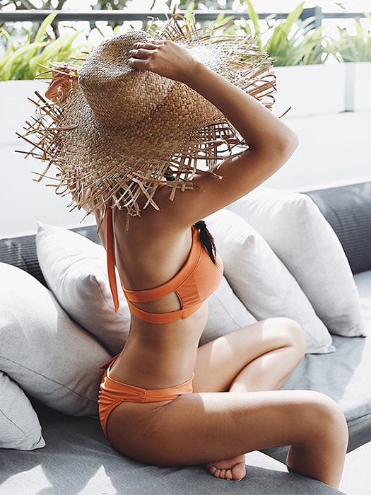 Wrapped Side Bow Beachwear In Sweet Orange