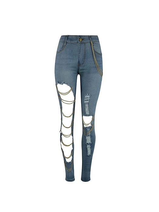 Exaggerated Hole Stretch Jeans With Metal Chain Detail