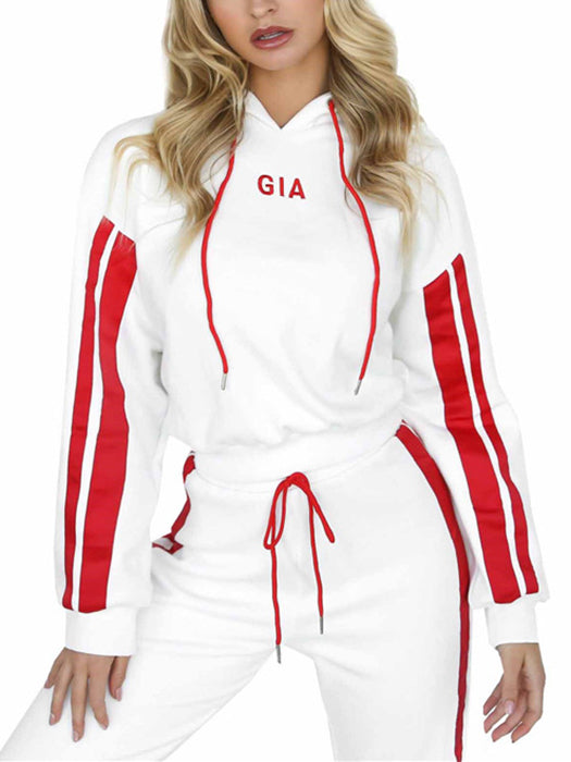 2 Piece Set Casual White Red Sportswear