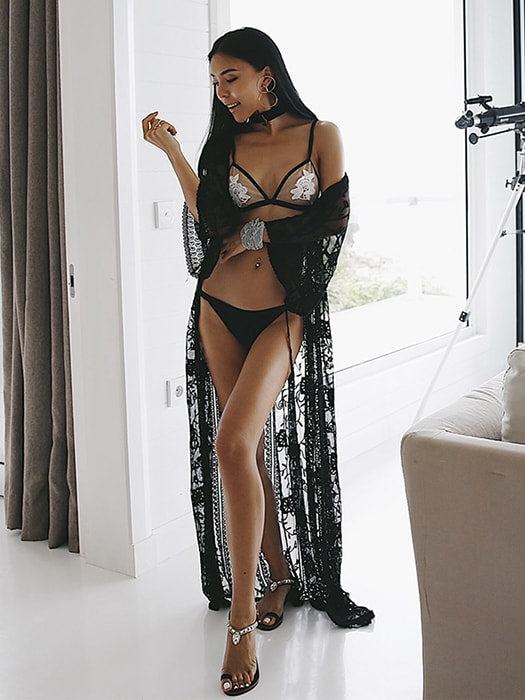 Mesh Lace Trumpet Sleeve Beachwear With Waist Tie