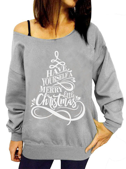 New Arrived Christmas Letter Print Tops T-Shirts Woman Long Sleeve Loose Sweater Letters Pine Shape Pullover