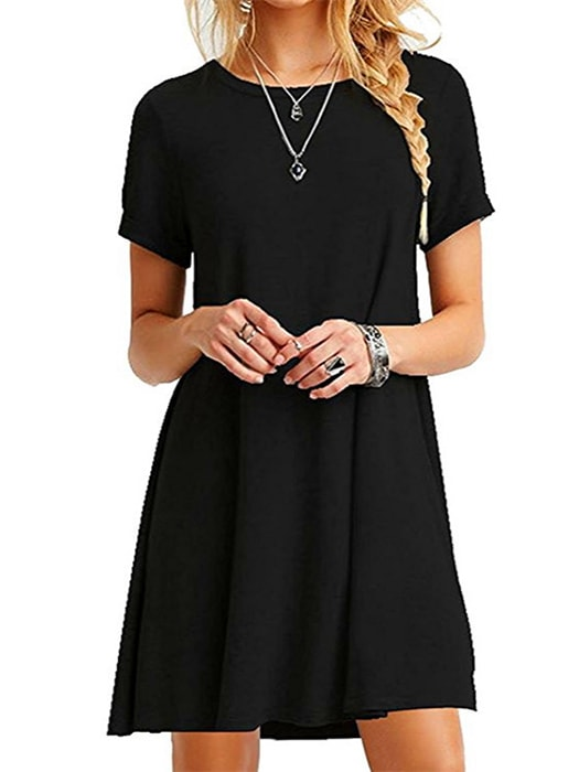 Plus Size Loose Short Sleeve A Line Dress Whatsmode
