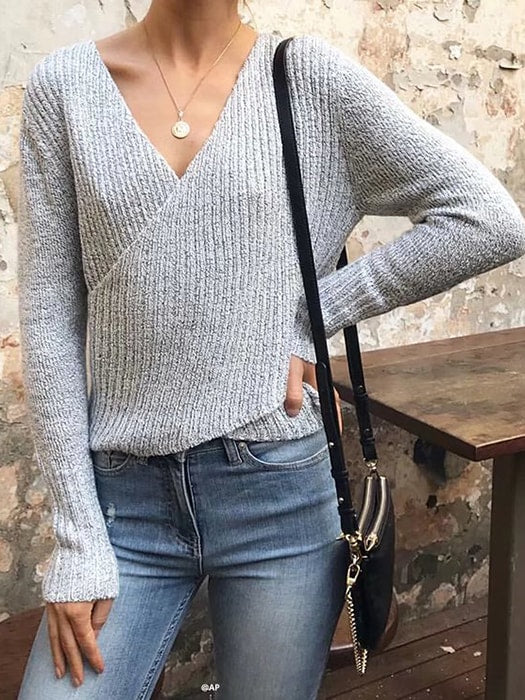 f8f5440d93 Off Shoulder V-neck Cross Sweater – WhatsMode