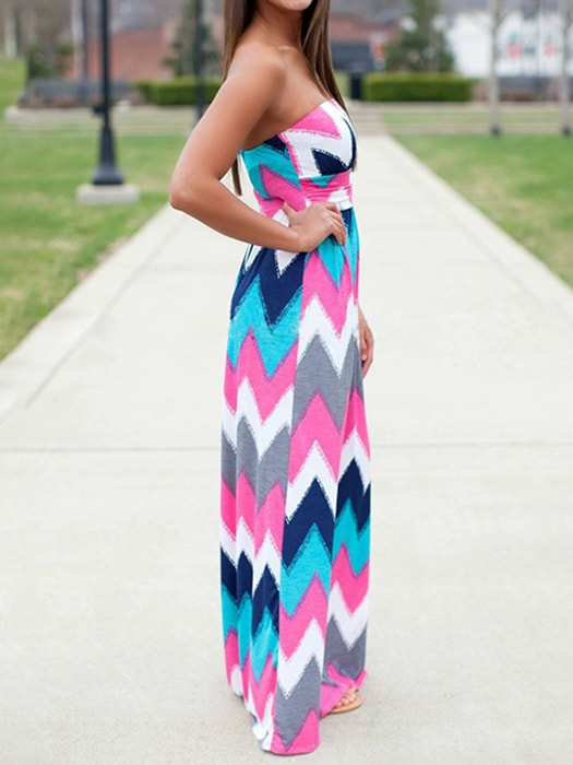 Bohemian Wave Print Tube Dress