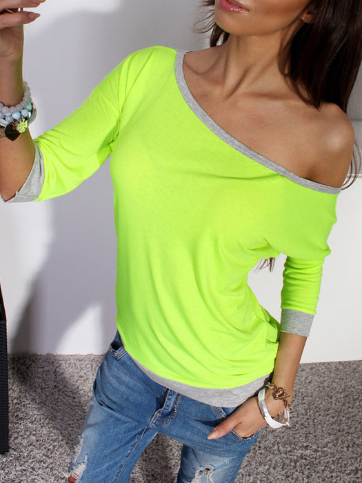 Casual 3/4 Sleeve Shirt Loose Pullover Blouse