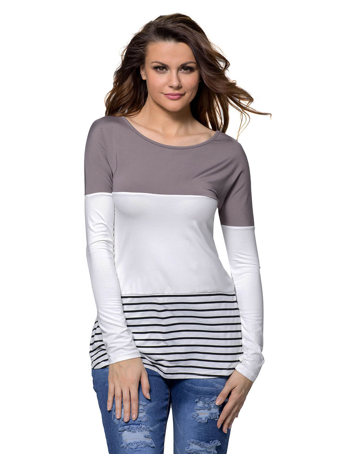 cb617248db051 Taupe White Color Block Striped Long Sleeve Blouse Top – WhatsMode