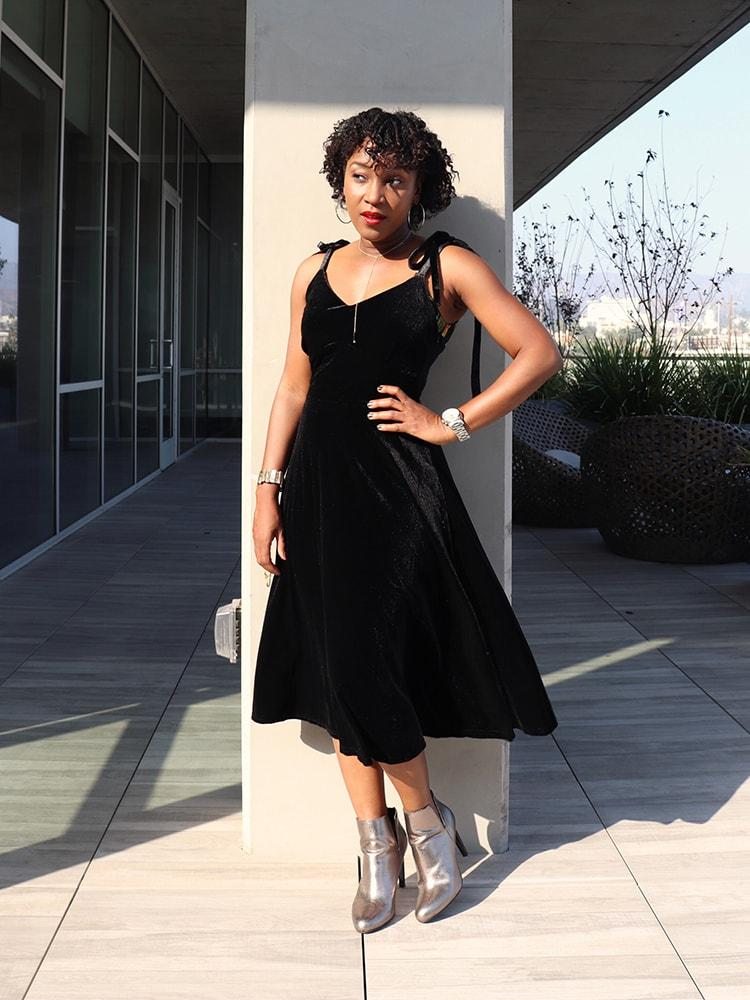 Vintage Lacing Strap Black Dress