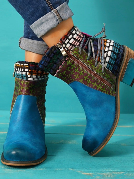 Retro Weave Genuine Splicing Leather Pattern Adjustable Boots