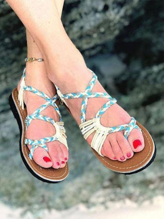 Casual Lace up Color Block Peep Toe Sandals