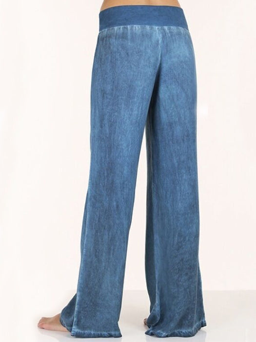 Pure Colour High Waist Flares Trousers