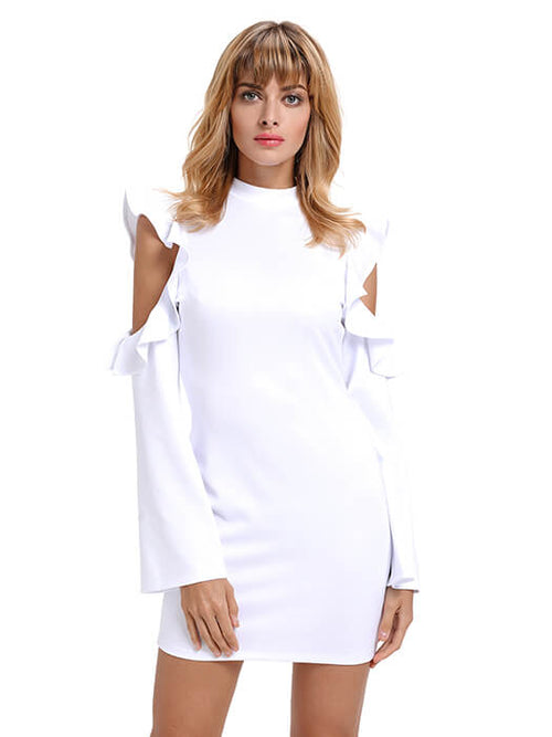 ac750fa5af White Cold Shoulder Ruffle Long Sleeve Bodycon Dress