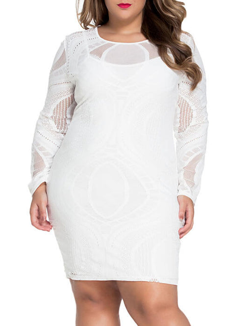 e54c345831 White Lace Nude Illusion Long Sleeves Bodycon Dress