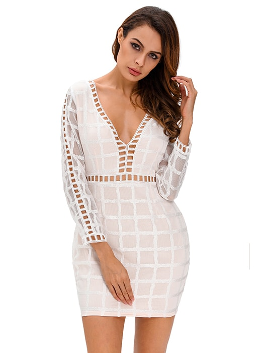 White Lace Nude Long Sleeves Mini Dress – WhatsMode