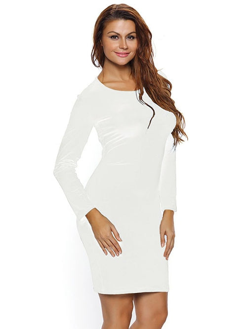 d112786299a3f7 White Lace Up Back Long Sleeve Bodycon Mini Dress