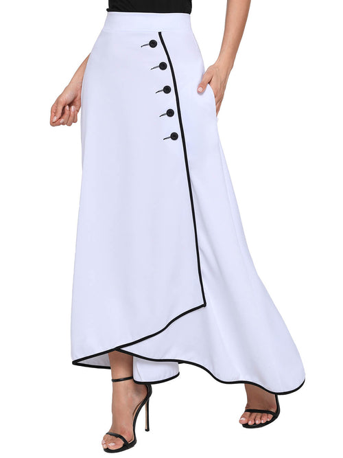 1c6239fec0 White Piped Button Embellished High Waist Maxi Skirt