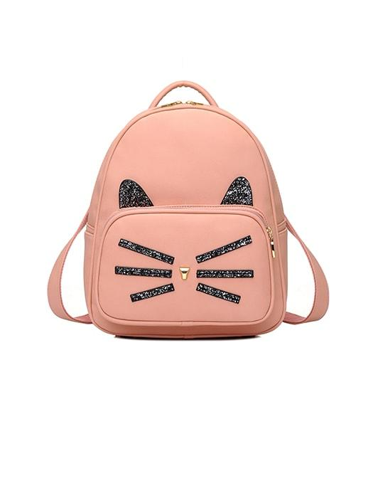 Fancy Sequins Kitten Travel Backpack - Nude Pink / One Size 2709