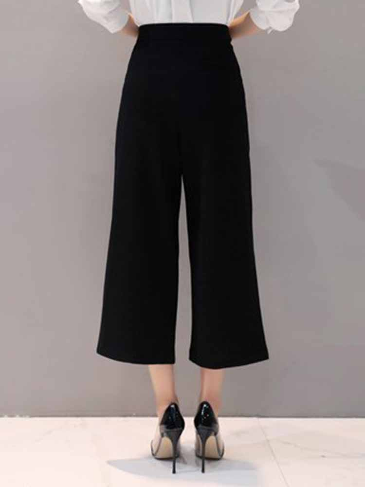 Simple Solid Wide Leg Pants