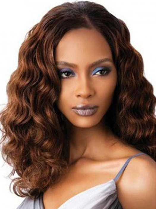 Medium Hair Golden Brown Curly Wig