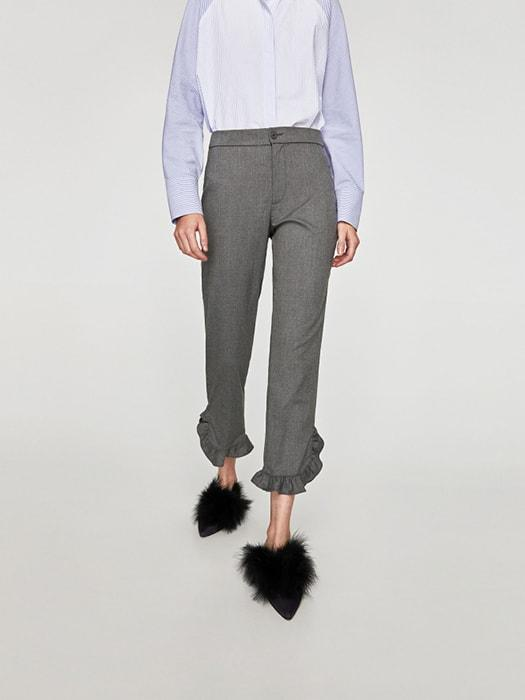 Ninth Length Heather Gray Trousers With Ruffled Bottoms