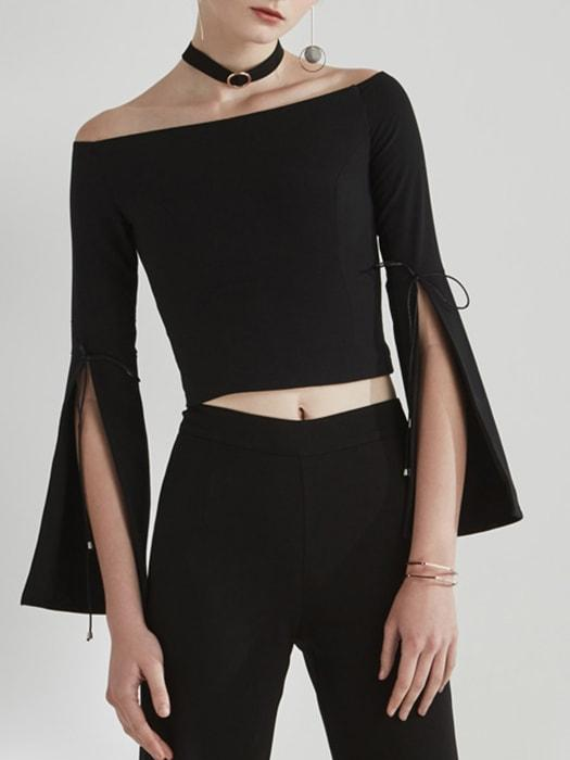 One-shoulder Top with Slits