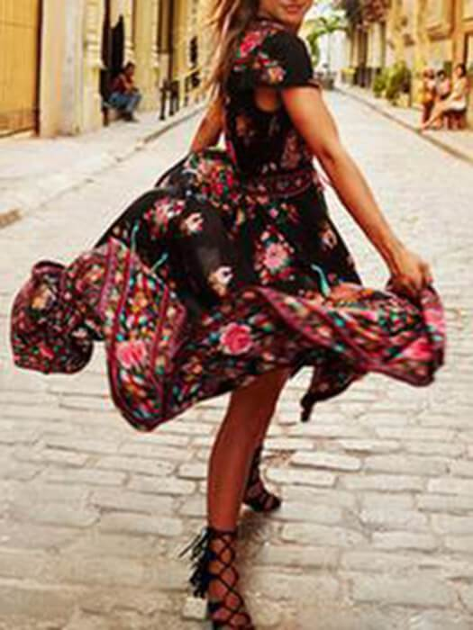 Black Floral Print Deep V Neck High-Low Hem Dress