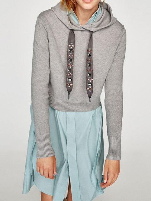 Hoodie with Gypsy Studded Drawstrings