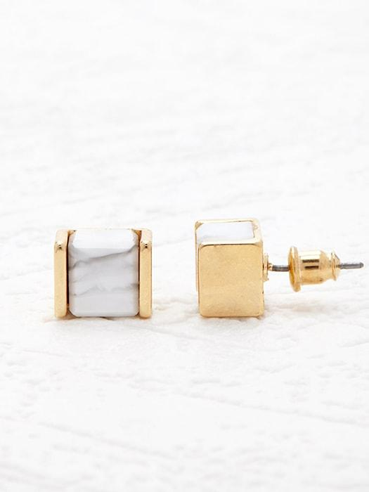 Gold-plated Cubic White Tophus Earrings
