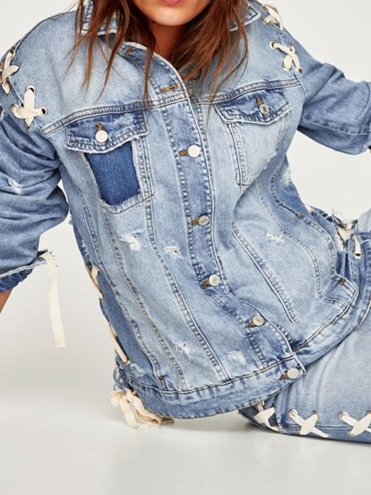 9c980ca5e53 Color Block Bleached Laced Eyelets Denim Coat – WhatsMode
