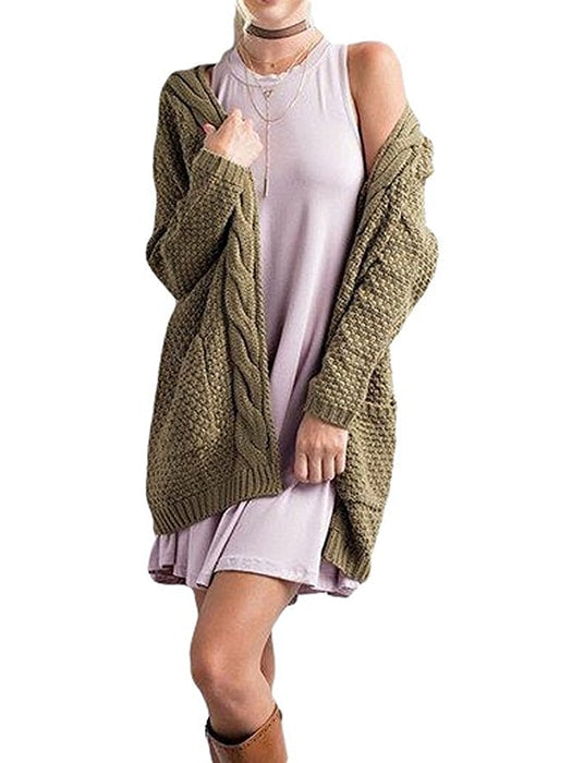 Cable Knit Drop Shoulder Sweater - Army Green / S 13298