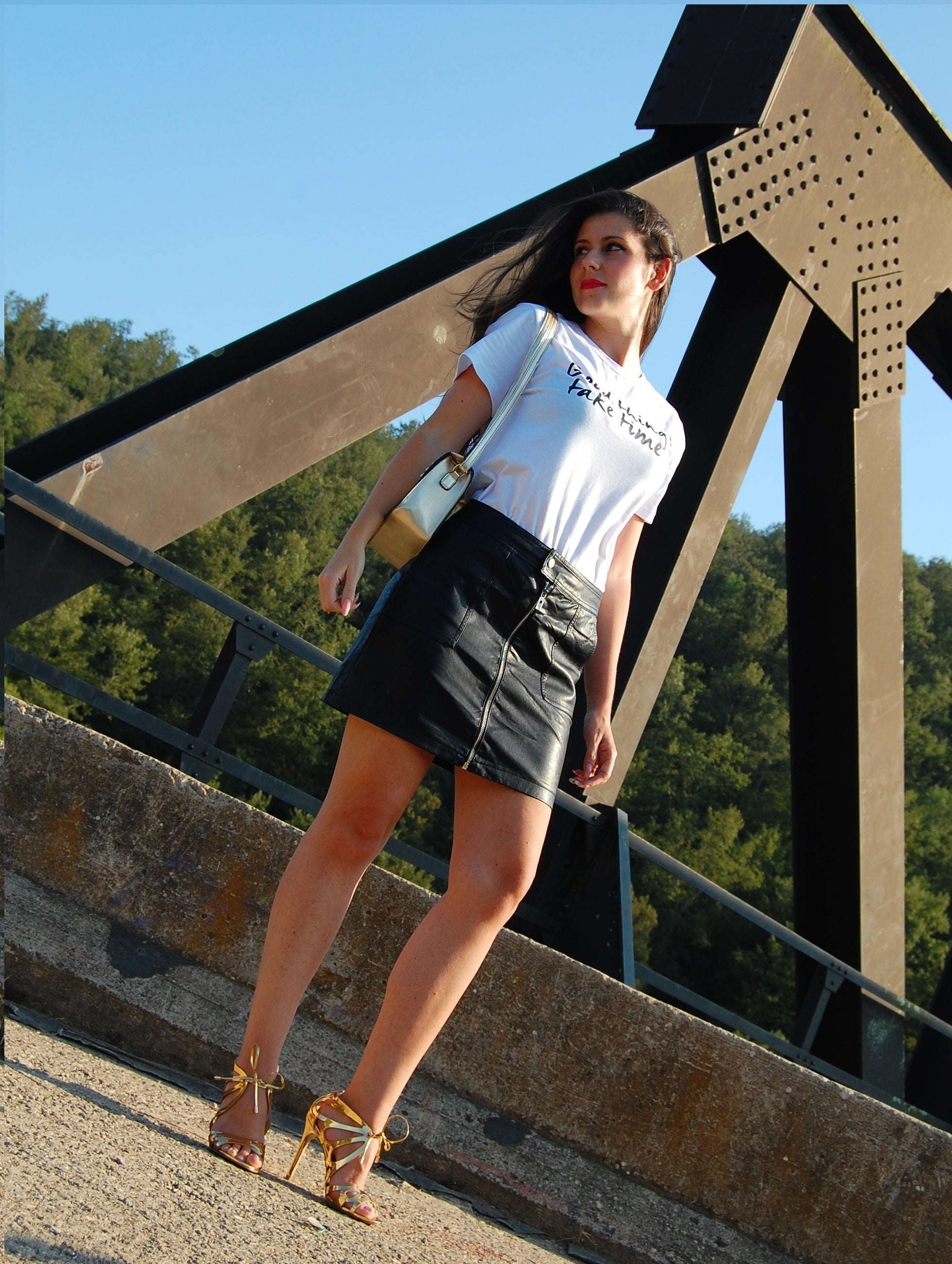 Black Faux Leather Mini Pencil Skirt