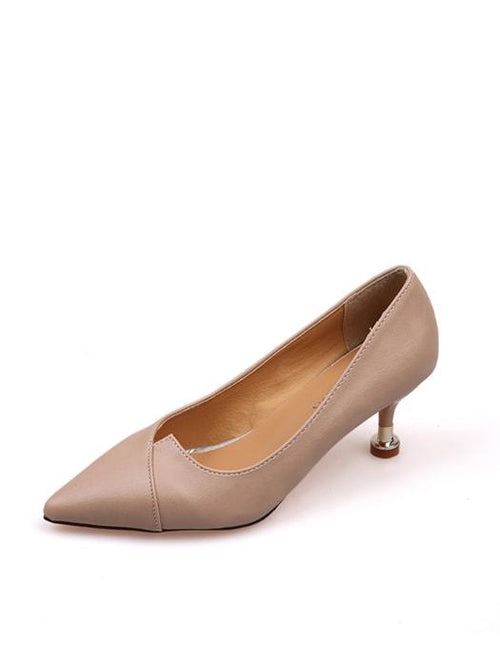 Elegant Trimmed Surface OL Kitten Heel