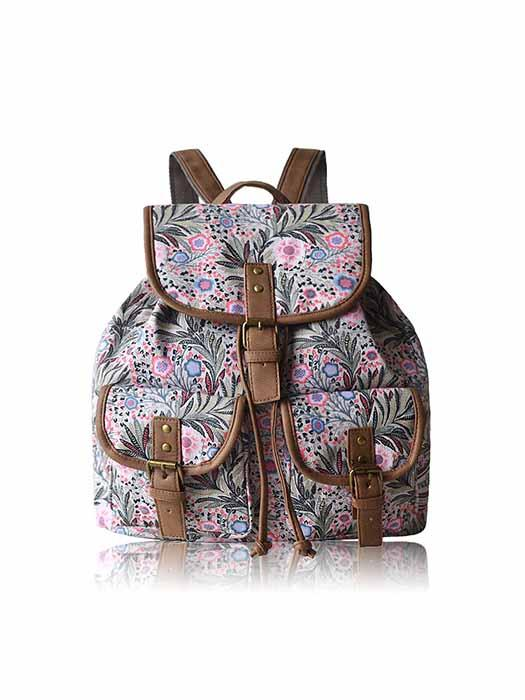 Oversize Denim Print Backpack