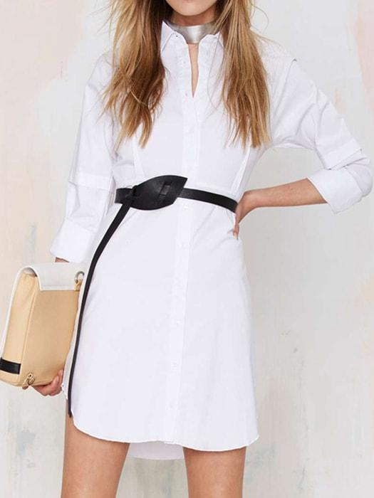 Tailored Basic Drop Shoulder BF Shirt Dress