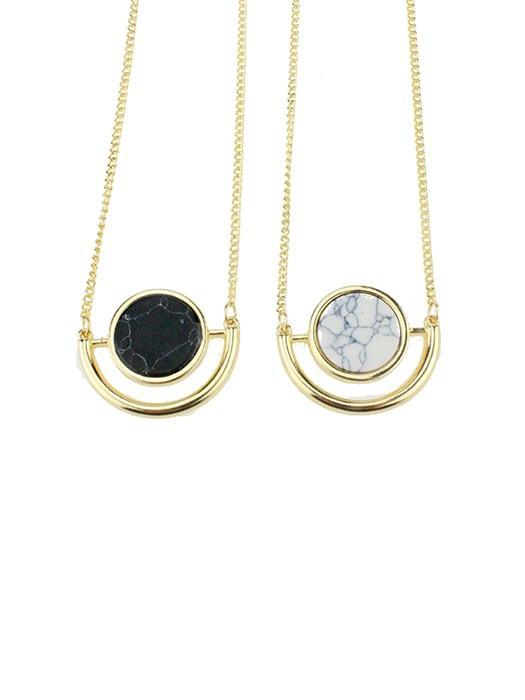 18K Plated Black and White STone-inlaid Necklace