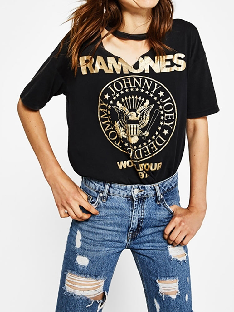 Chic Print Hollow-out T-shirt