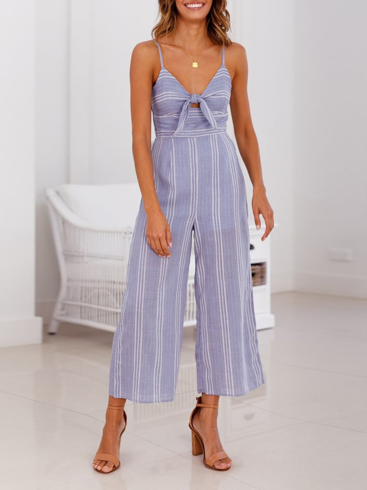 Casual Striped Wide Leg Jumpsuit