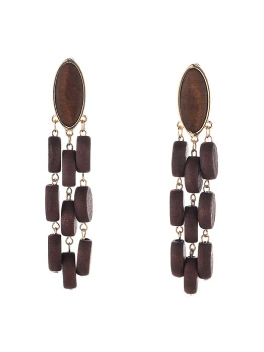 Exquisite Wood Chain Pendent Fancy Earrings