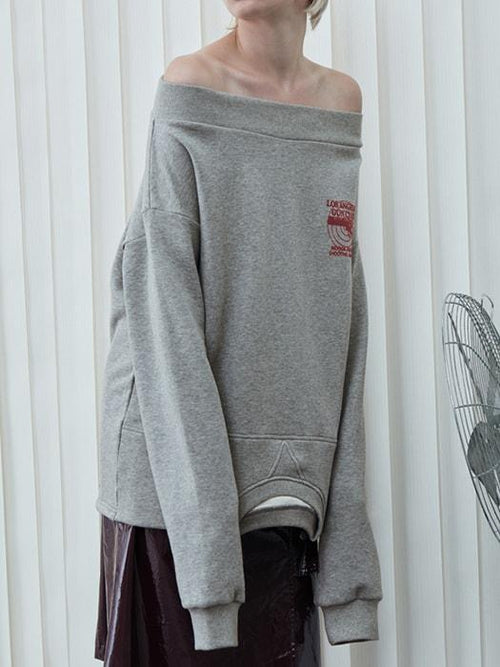 Boat Collar Cut Out Hem Upside Downed Fancy Sweatshirt