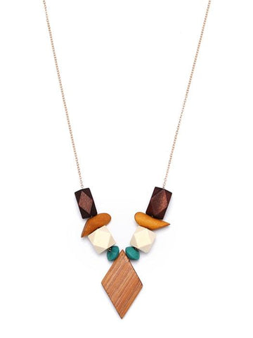 Pentagon Wood-inlaid Necklace Sweater Chain