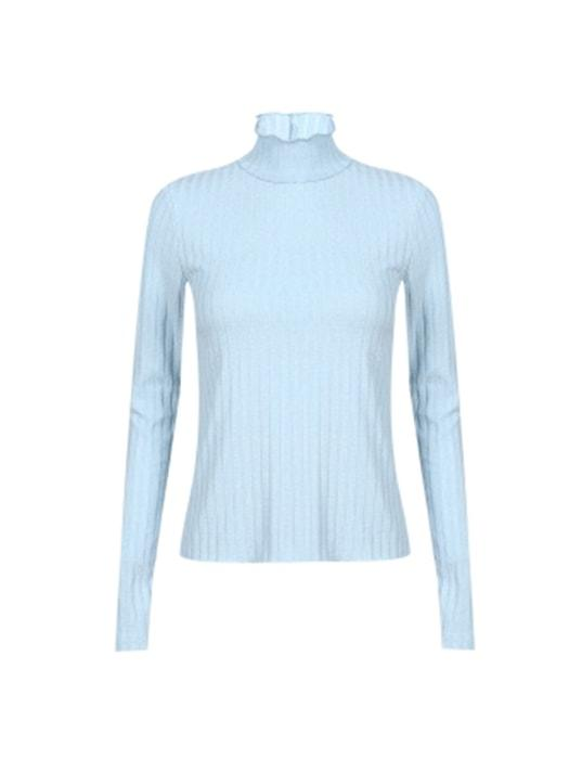 Solid Color Ribbed Roll Neck Sweater