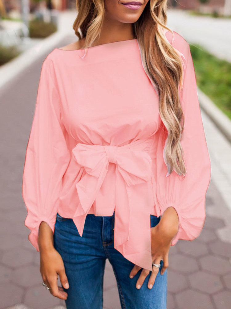 Tied With A Bow - Balloon Sleeve Blouse - Pink