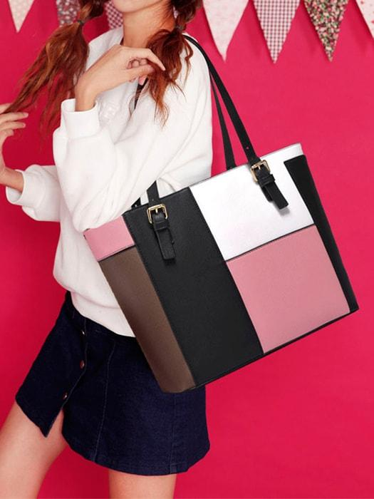 Chic Color-blocking Tote Bag