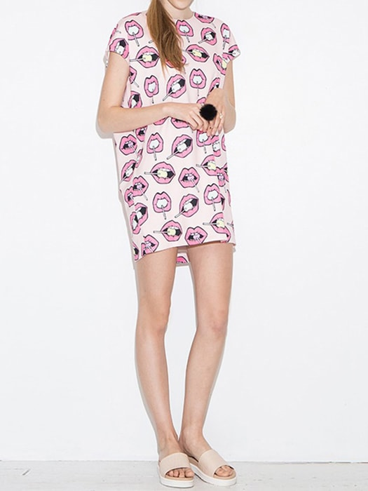 Candy Kiss Print Midi Dress