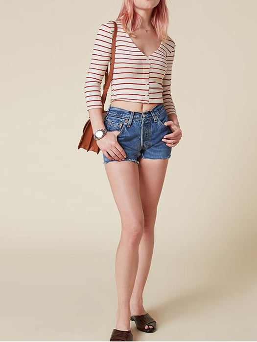 V-neck Button Up Contrast Crop  Top