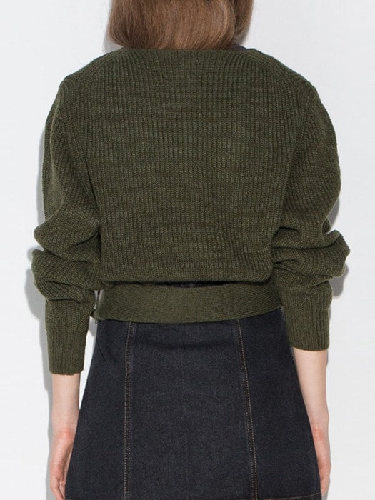 Plunge Neck Ribbed Sweater With Waist Buckle