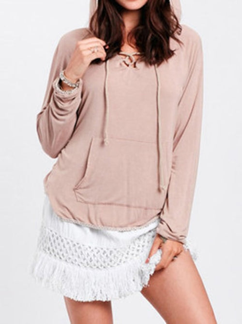 V-neck Drawstring Hoodie With Spliced Lace Detail